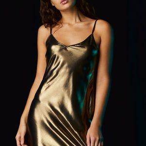 "Aritzia ""Vivienne"" Copper Metallic Mini Slip Dress"